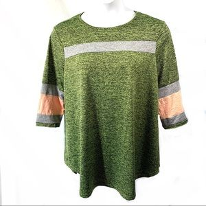 Pullover Top Tee Sz XL Green Space Dyed Striped
